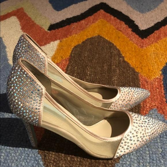Betsy Johnson Bedazzled Heels W/ Powder Blue Soles